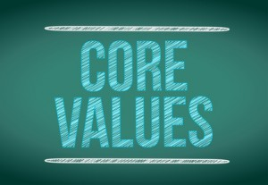 core values message written on a chalkboard.